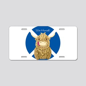 Wee Hamish Highland Cow (Saltire) Aluminum License