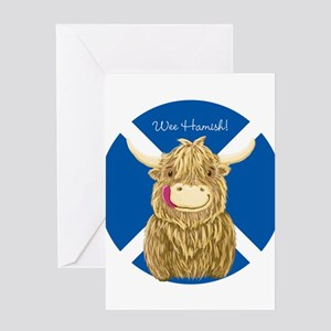 Wee Hamish Highland Cow (Saltire) Greeting Cards