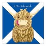 Wee Hamish Highland Cow (Saltire) Square Car Magne