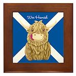 Wee Hamish Highland Cow (Saltire) Framed Tile