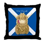 Wee Hamish Highland Cow (Saltire) Throw Pillow