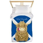 Wee Hamish Highland Cow (Saltire) Twin Duvet Cover