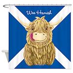 Wee Hamish Highland Cow (Saltire) Shower Curtain