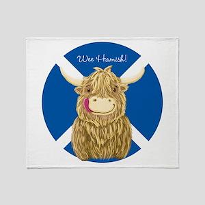 Wee Hamish Highland Cow (Saltire) Throw Blanket