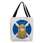 Wee Hamish Highland Cow (Saltire) Polyester Tote B