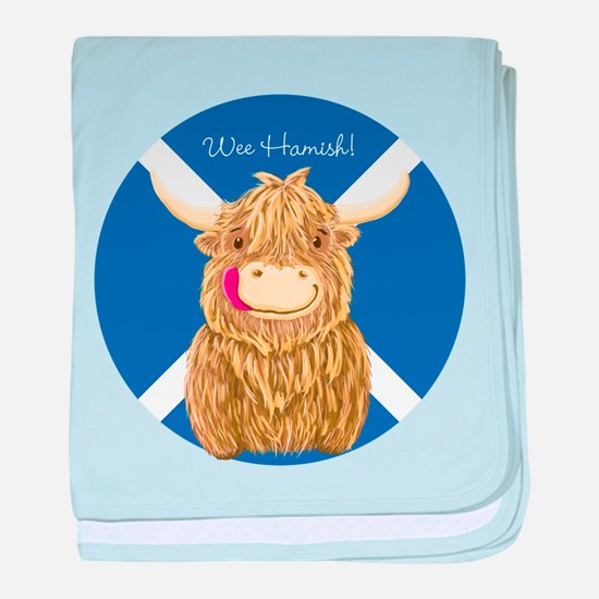 Wee Hamish Highland Cow (Saltire) baby blanket