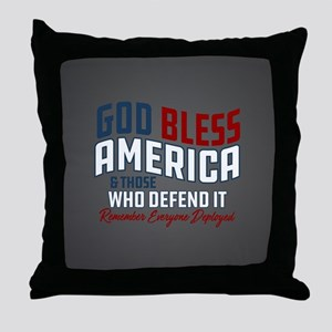 God Bless America RED Friday Throw Pillow