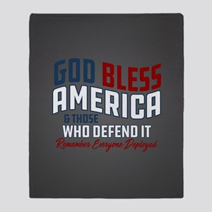 God Bless America RED Friday Throw Blanket