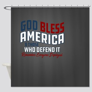 God Bless America RED Friday Shower Curtain