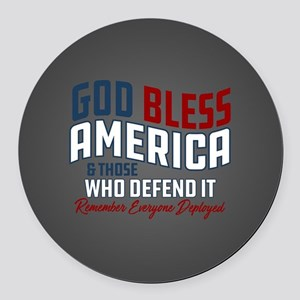 God Bless America RED Friday Round Car Magnet