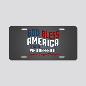 God Bless America RED Frida Aluminum License Plate