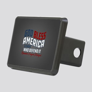 God Bless America RED Frid Rectangular Hitch Cover