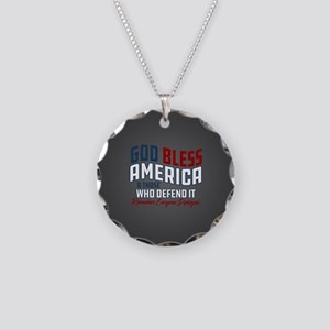God Bless America RED Friday Necklace Circle Charm