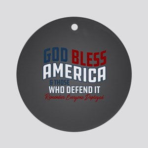 God Bless America RED Friday Round Ornament
