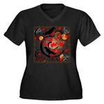 The Colors of Fall Women's Plus Size V-Neck Dark T