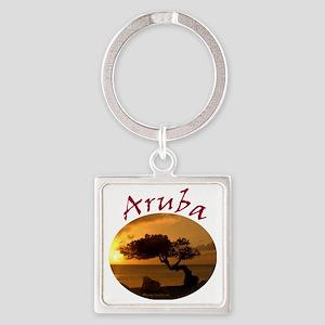 Aruba-Sunsets Logo Square Keychain