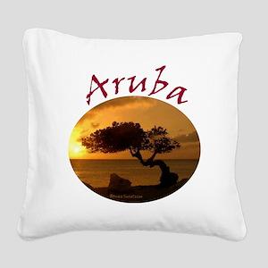 Aruba-Sunsets Logo Square Canvas Pillow