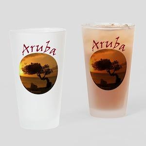 Aruba-Sunsets Logo Drinking Glass