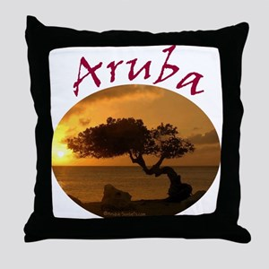 Aruba-Sunsets Logo Throw Pillow