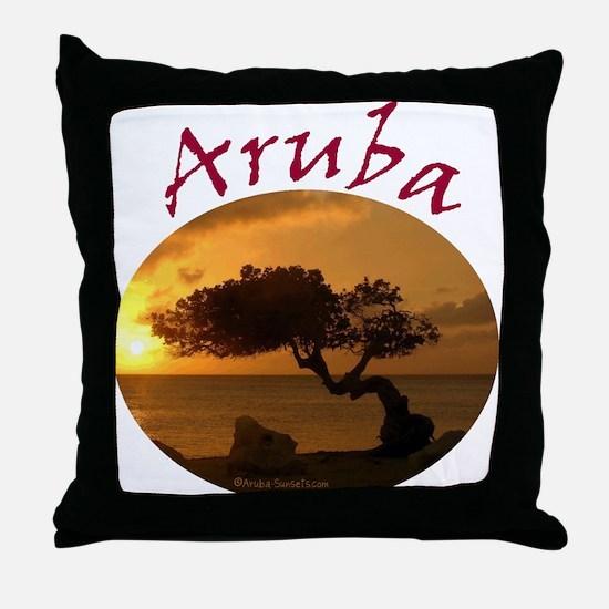 Aruba-Sunsets Logo Throw Pillow