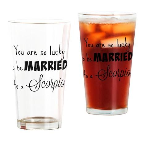 Lucky Married Scorpio Drinking Glass