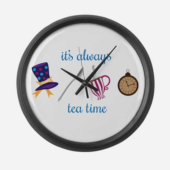 Funny Tea books Large Wall Clock