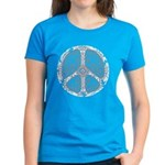 Blue Funky Peace Sign Women's Dark T-Shirt