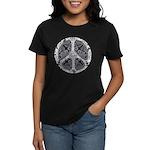 Blue Funky Peace Sign Women's Dark T-Shirt