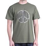 Blue Funky Peace Sign Dark T-Shirt