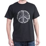 Blue Funky Peace Sign Dark T-Shirt
