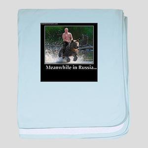 Vladimir Putin Riding A Bear baby blanket