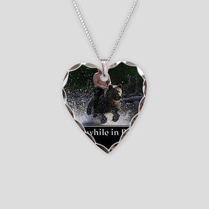 Vladimir Putin Riding A Bear Necklace Heart Charm