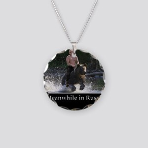 Vladimir Putin Riding A Bear Necklace Circle Charm