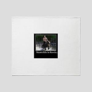 Vladimir Putin Riding A Bear Throw Blanket