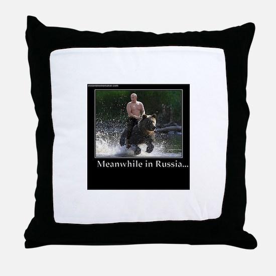 Vladimir Putin Riding A Bear Throw Pillow