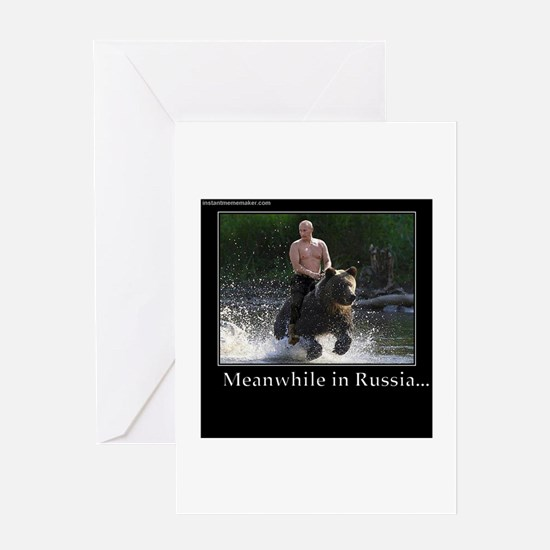 Vladimir Putin Riding A Bear Greeting Cards