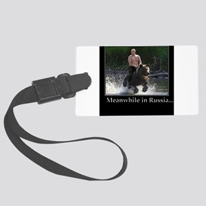 Vladimir Putin Riding A Bear Large Luggage Tag