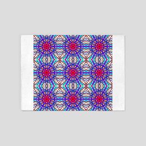 Mandala In Blue And Fuschia - Tiled 5'x7'Area Rug