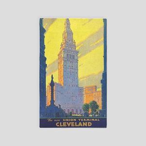 Cleveland Vintage Travel Poster Area Rug