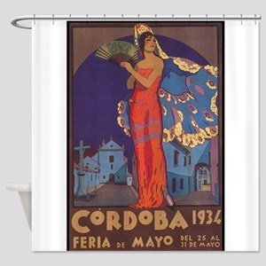 Cordoba, Spain Vintage Travel Poste Shower Curtain