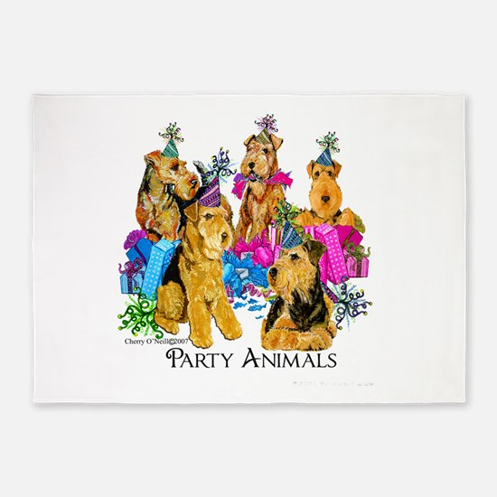 Airedale Terrier Party 5'x7'Area Rug