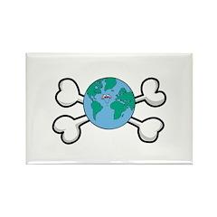Cute Earth/Globe & Crossbones Design Rectangle Mag