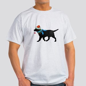 Black Lab Naughty Christmas Dog White T-Shirt