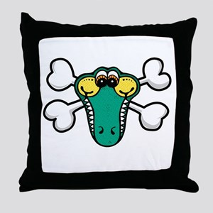Cute Crocodile & Crossbones Throw Pillow