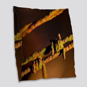 Barbed Wire Burlap Throw Pillow