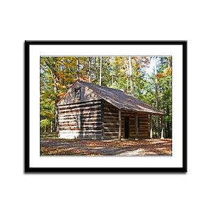 Log Cabin In The Woods Framed Panel Print