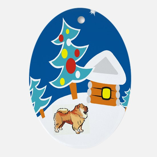 Chow In Snow Christmas Oval Ornament