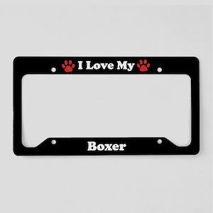 I Love My Boxer Dog License Plate Holder