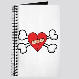 Broken Bandaged Heart & Crossbones Journal