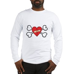 Broken Bandaged Heart & Crossbones Long Sleeve T-S